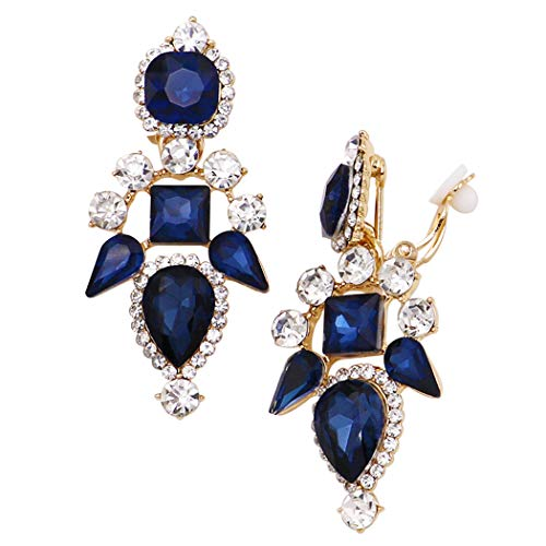 Rosemarie Collections Women's Stunning Crystal Chandelier Statement Clip On Earrings (Blue/Gold)