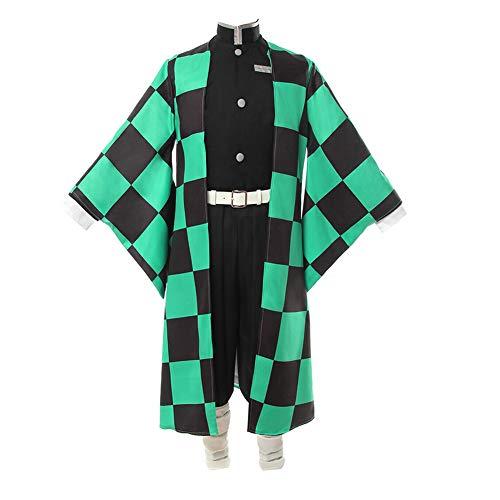 COSSHOW Demon Slayer Kamado Tanjirou Agatsuma Zenitsu Cosplay Costume Kimono Outfit Suit (Kamado Tanjirou,XL) -