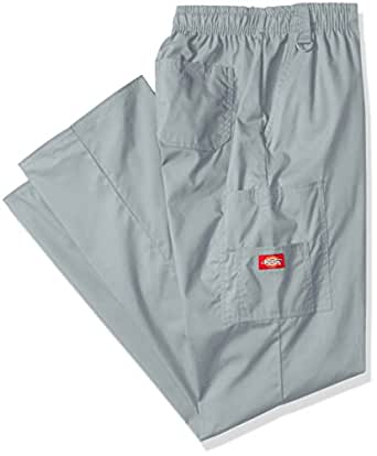 Dickies Men's Big-Tall EDS Signature Zip Fly Pull-On Scrub Pant, Grey, Small