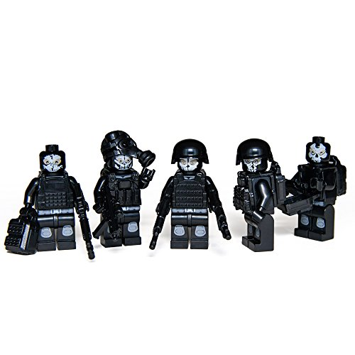 5 Set of Minifigures Special Ops SWAT Team w/ Military Weapons and Accessories Policeman Recon Soldier Toys Building (Special Ops Vests)