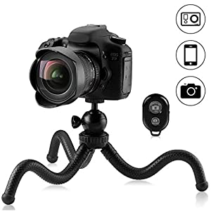 Phinistec 12inch Mini Flexible Phone Tripod for iPhone, DSLR, Camera, Gopro, Samsung, Huawei and Other Smartphone with Universal Cell Phone Mount and Bluetooth Remote Shutter and Gopro Adatper (Black)