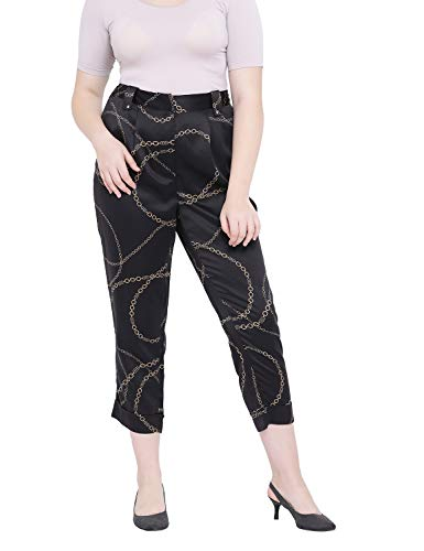 oxolloxo Women's Plus Size Abstract Trouser Pant (Black)
