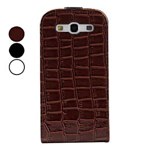 PEACH-Crocodile Protective Flip PU Leather Case for Samsung Galaxy S3 I9300 (Multi-Color) , Black