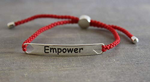 Sterling Silver Empower Bracelet with Lucky Red Rope Christmas Gifts for Women (Rope Inspirations)