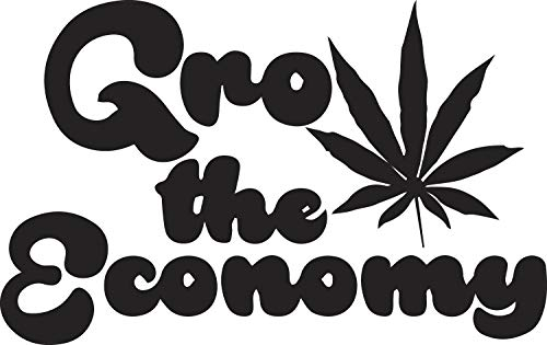 USCLIFESTYLE Marijuana Grow The Economy (Black) (Set of 2) Premium Waterproof Vinyl Decal Stickers for Laptop MacBook Phone Tablet Helmet Car Window Bumper Mug Tuber Cup Door Wall Decoration