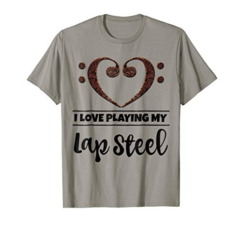 Double Bass Clef Heart I Love Playing My Lap Steel Guitar Music Lover T-Shirt