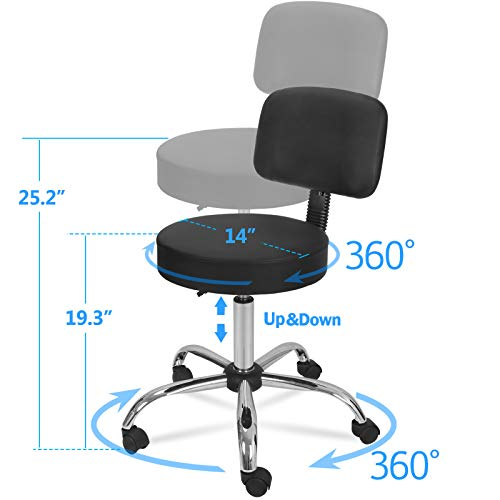 ZENY Adjustable Tattoo Salon Beauty Stool Hydraulic Rolling Chair Facial Massage Spa Stool Chair, White (Black w/backrest)