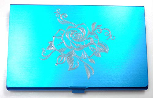 Tribal Rose Love BLUE Engraved Business ID Card Patch Case BUS-0451