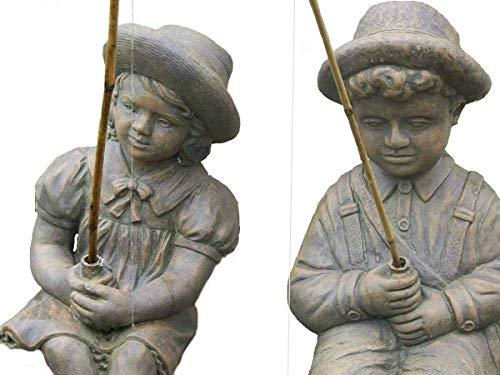 Henri Cast Stone - Fishing Boy & Girl Cast Stone Statues-Sculptures- Great Garden Gift Idea!