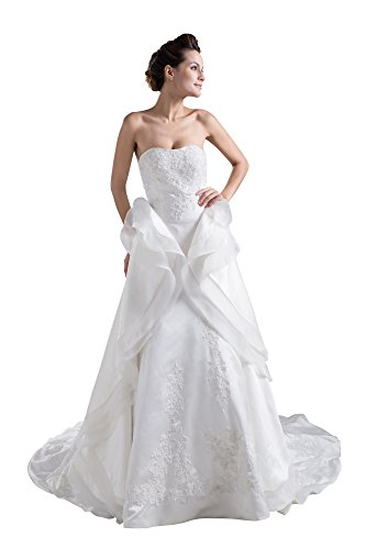 - Vogue007 Womens Strapless Silk Pongee Wedding Dress with Floral, ColorCards, Customized