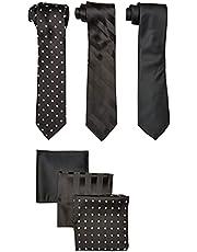 Stacy Adams Paquete de 3 corbatas de satén para hombre, diseño de lunares con bolsillos cuadrados
