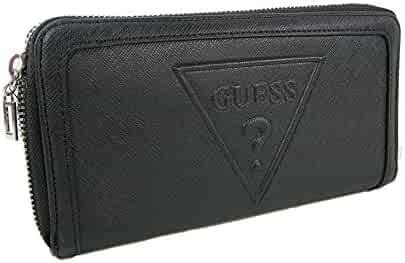 New Guess Triangle Logo Large Zip Around Wallet Purse Hand Bag Black  Baldwinpark 514a26565db71