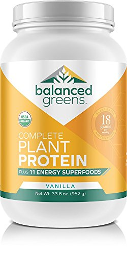 Balanced Greens Plant Protein plus 11 Energy Superfoods with Probiotics, Vegan, Organic All in One Nutritional Protein Shake & Greens, Vanilla, 34 Servings
