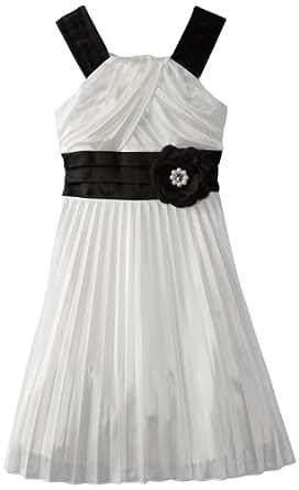 My Michelle Big Girls' Pleated Dress, Ivory, 12