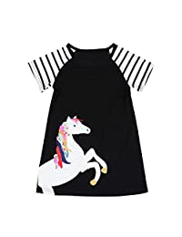 Iuhan Infant Toddler Baby Girl Dress Short Sleeve Horse Clothes Striped Dress Outfits