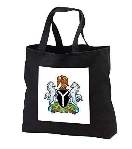 gns - Nigeria Coat of Arms - Tote Bags - Black Tote Bag 14w x 14h x 3d (tb_300154_1) ()