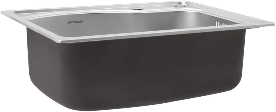 Warmiehomy 1.0 Single Bowl Sink Stainless Steel Square Kitchen Sinks with Strainer Plugs Fixing Clips Seals Small Single Sink Size: 500mm x 400mm x 190mm