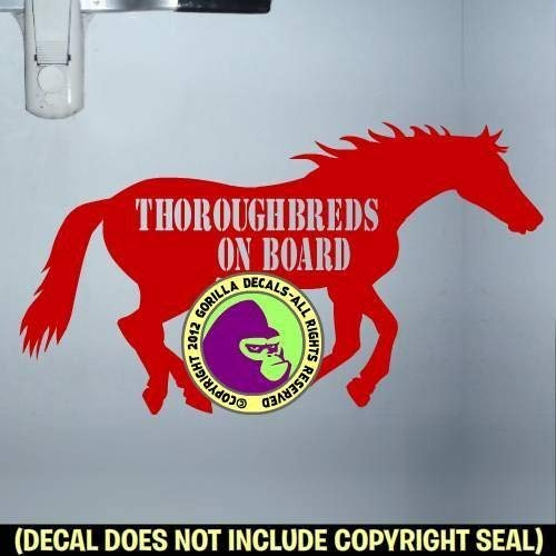 THOROUGHBREDS ON BOARD Body Horse Trailer Caution Sign Vinyl Decal Sticker B