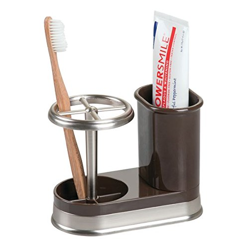 mDesign Decorative Bathroom Dental Storage Organizer Holder Stand for Electric Spin Toothbrush/Toothpaste - Compact Design for Countertop and Vanity, Holds 4 Standard Brushes - Dark Brown/Brushed