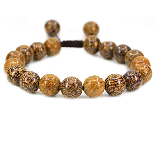 AMANDASTONES Natural Tiger Skin Jasper Gemstone 10mm Round Beads Adjustable Braided Macrame Tassels Chakra Reiki Bracelets 7-9 inch Unisex