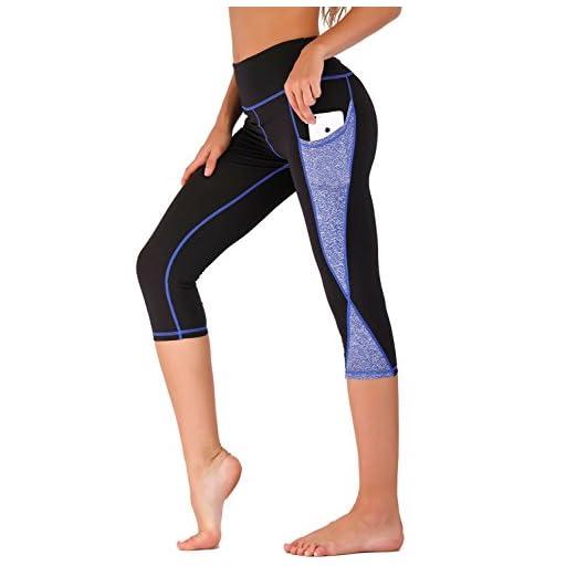 IMIDO Women's Yoga Capri Pants Sport Tights Workout Running Mesh Leggings with Side Pocket
