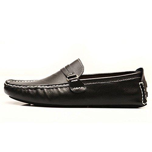 Generic Herren B¨¹ro Mokassins Flache Schwarz Leder Schuhe Loafers EU43