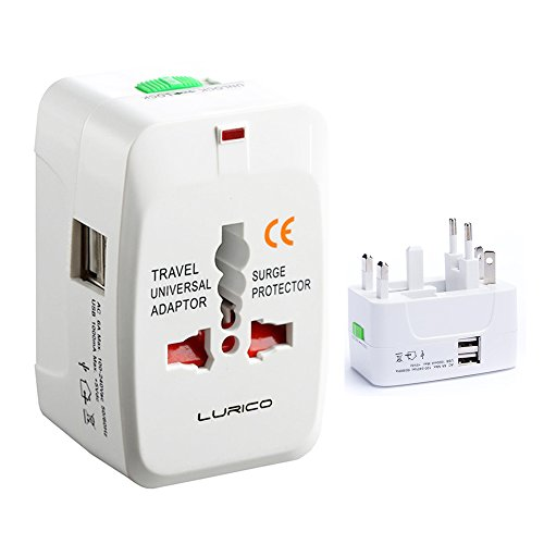 2 USB Charging Port (1A) Lurico Universal WorldWide International All in One Charger Multi-Socket Outlet Travel Adapter Adaptor Wall Power Plug Charger For USA UK EU AUS , White (British Current Converter compare prices)