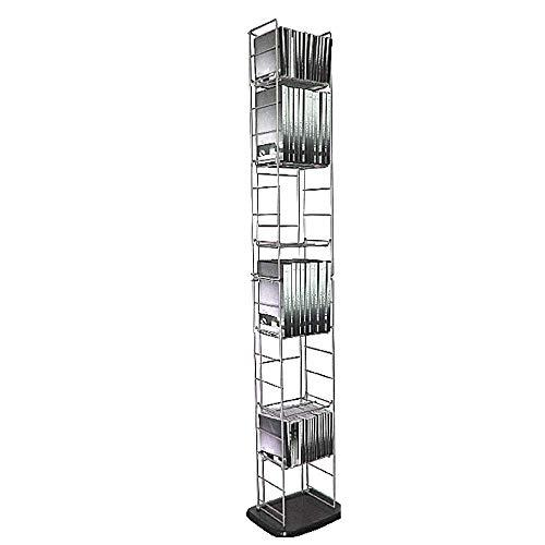 DVD Storage Tower Tall 8-Tier CD Book Blu-Ray Media Unit Modern Metal Multipurpose Organizer Slim Stand & eBook