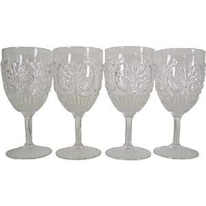 Set of 4 Le Cadeaux Classic Break Resistant Drinkware Wine Glasses, Clear