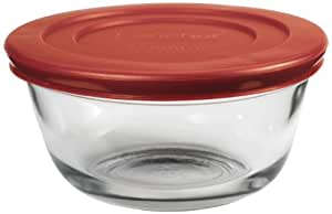 Anchor Hocking Glass Food Prep and Mixing Bowls with Lids, Red, 6-Piece Set