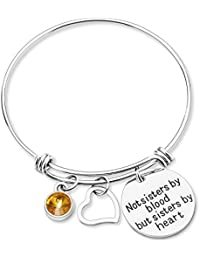 """Not Sisters By Blood But Sisters By Heart ""-Friendship Birthstone Adjustable Charm Bangle Bracelet Stainless Steel Women Jewelry Birthday Girls Gifts"