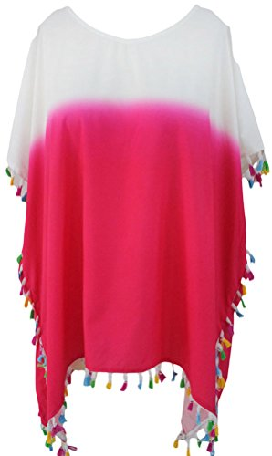 DH-MS Dress Women's Stylish White Pink Color Block Tassel Beach Cover up (Harry Potter Dressing Up)
