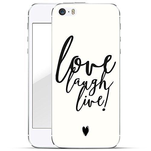 finoo | iPhone SE Hard Case Handy-Hülle mit Motiv | dünne stoßfeste Schutz-Cover Tasche in Premium Qualität | Premium Case für Dein Smartphone| Love Laugh Live