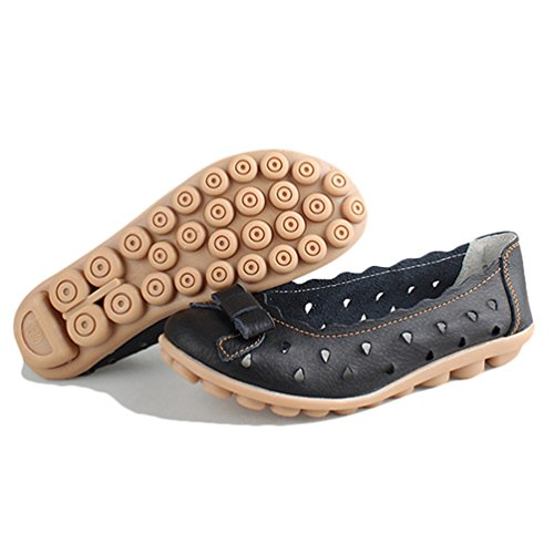 JRenok Mou Chaussures Mocassins à Chaussures Flats Femmes Fond Noir 35 Haricot 40 Plateforme Creux Loisir Cuir à grOqgC8xw