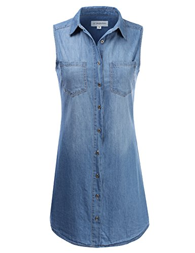 Denim Chambray Dress - JJ Perfection Women's Sleeveless Chambray Denim Button Down Dress MEDIUM 3XL