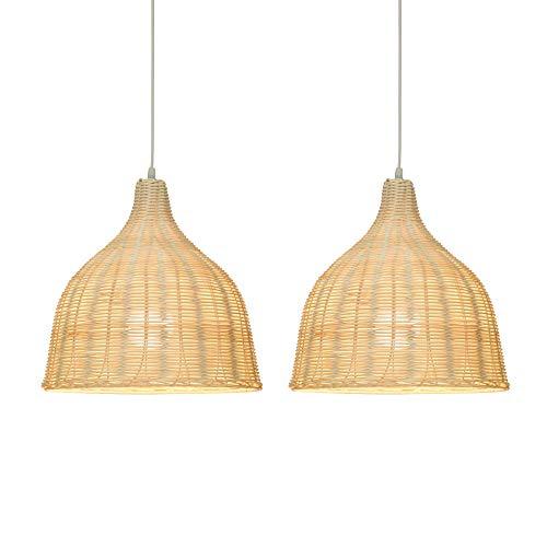 KIRIN Bamboo Rattan Pendant Hanging Light Fxture Lamp Nordic Chandelier for Kitchen Bedroom Living Room Restaurant Hotel E26 Base 2 Pack (13.78