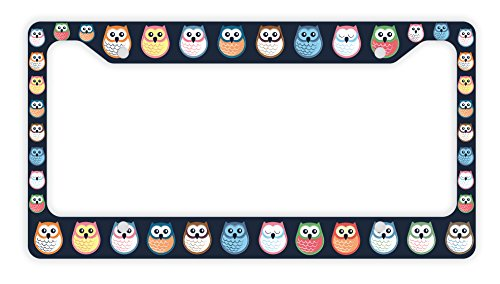 ThisWear Decorative License Plate Frame Owl License Plate Frame Cute License Plate Frame Owl Car Accessories Novelty License Plate Frame Colorful Owls (Plate Owl Small)