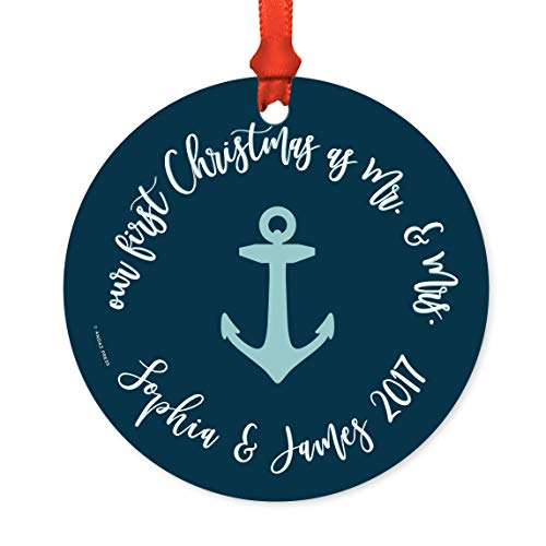 Andaz Press Personalized Wedding Metal Christmas Ornament, Our First Christmas As Mr. and Mrs. 2019, Navy Blue Nautical Anchor, 1-Pack, Sophia & James, Includes Ribbon and Gift Bag, Custom Name]()
