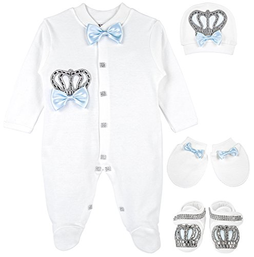 Lilax Baby Boy Jewels Crown Layette 4 Piece Gift Set 0-3 Months Blue (Thanksgiving Outfit For Baby Boy)