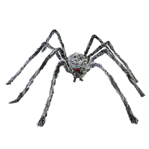 Halloween Haunters 6 Foot Oversized Realistic Spider Prop Decoration - Huge Creepy Crawly Legs, Grey and Black Fury Hair, Scary Red Eyes]()