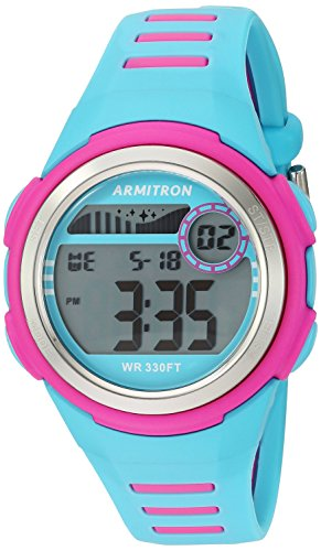 - Armitron Sport Women's 45/7069LBL Magenta Accented Digital Chronograph Light Blue Resin Strap Watch