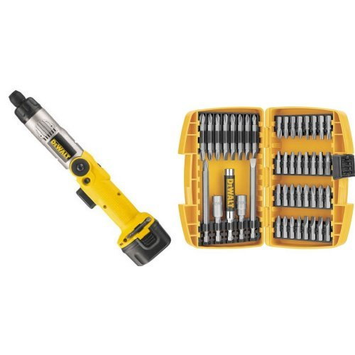 DEWALT DW920K-2 1/4-Inch 7.2-Volt Cordless Two-Position Screwdriver Kit with 45-Piece Screwdriving Set with Tough Case
