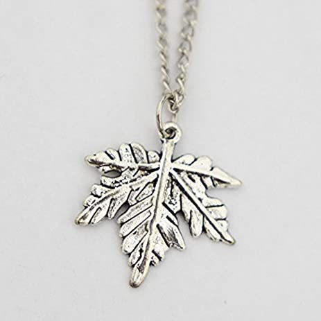 Amazon silver maple leaf necklace silver maple leaf charm silver maple leaf necklace silver maple leaf charm maple necklace leaf necklace aloadofball Gallery