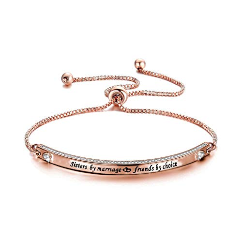 Zuo Bao Best Sisters in Law Gift Sisters by Marriage Friends by Choice Bracelet Maid of Honor Gift Wedding Jewelry for Women Delicate Bangle Gifts for Sisters (Sister by Marriage-Rose Gold)