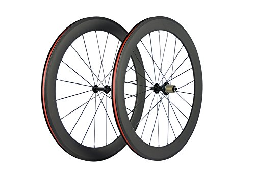 SunRise Bike 700c Full Carbon Clincher Wheelset Best Cycling Rims with Black CN494 Flat Spokes (Shimano Cassette)