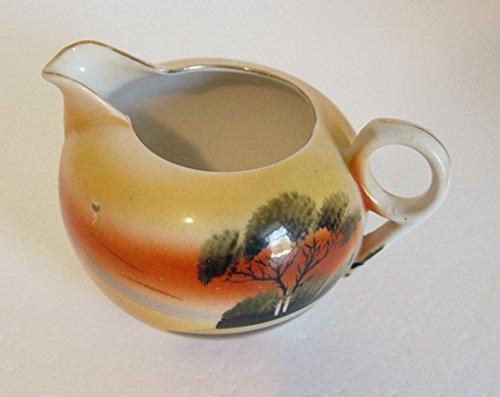 (Vintage Hand Painted Japanese Oriental Style Porcelain Creamer)