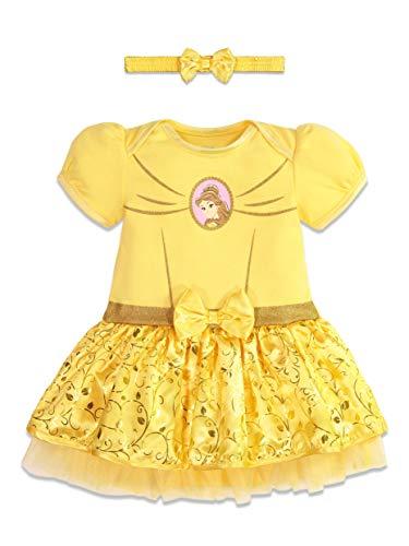 Disney Princess Belle Baby Girls Costume Bodysuit Dress Headband 12-18 Months