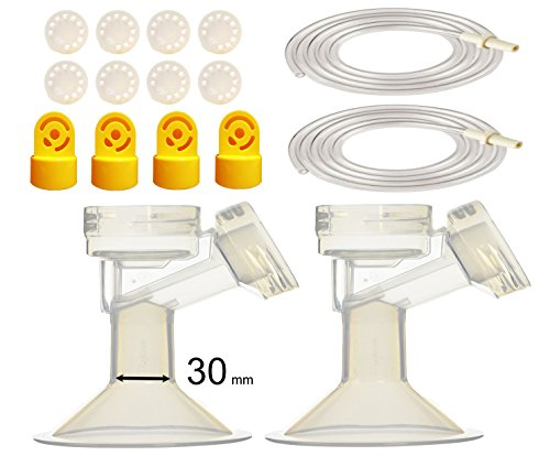 (30 mm Breastshield Breastspump Kit XL for Medela Pump in Style Advanced Breastpump. Inc. Tubing, Flanges, Yellow Valves, Membranes; From Maymom)