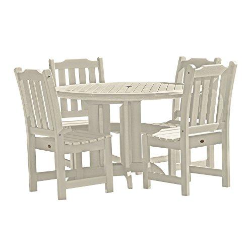 Set Whitewash - Highwood 5 Piece Lehigh Round Dining Set, Whitewash
