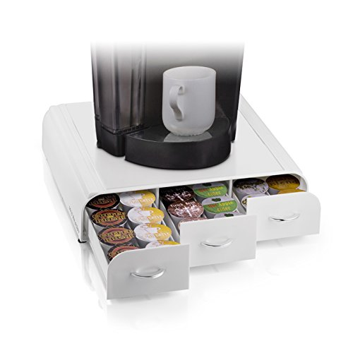Mind Reader 36 Capacity 'Anchor' Triple Drawer K-Cup, Dolce Gusto, CBTL, Verismo, Single Serve Coffee Pod Holder Drawer, White (Keurig Cup Holder Wood)
